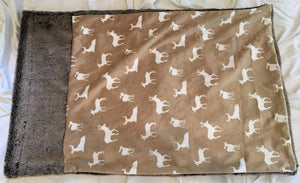 Luxe Cuddle Deer to Me in Sand Pillowcase with Luxe Cuddle Frost Chocolate Frost Trim and Back