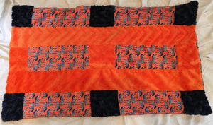 Pillowcase - Orange Zig Zag Zebra with Navy Rosettes and Embossed Orange Chevron