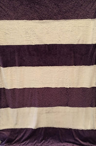 Strip Style Blanket: Embossed Vine in Violet Strip on Luxe Cuddle Frost Iris