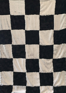 Luxe Cuddle Black Frost and Luxe Cuddle Caviar Hide Patchwork Throw on Luxe Cuddle Black Frost
