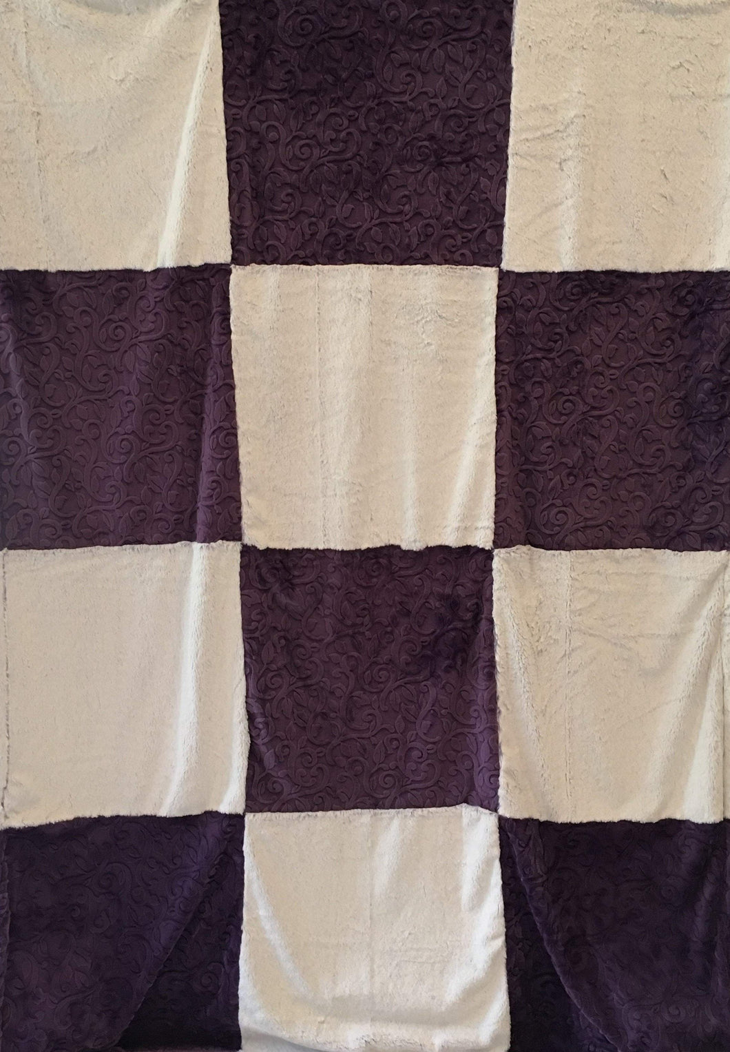 Patchwork Style Throw Blanket in Frost Iris, Embossed Vine in Violet on Embossed Vine in Violet