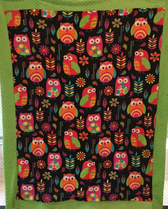 Heavenly Plush Minky Fleece Owl Bordered Luxe Throw on Luxe Lime Dimple Dot