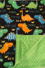 Load image into Gallery viewer, Polar Fleece Bright Dinos on Luxe Cuddle Lime Dimple Dot