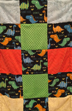 Load image into Gallery viewer, Polar Fleece Bright Dinos Patchwork on Luxe Cuddle Caviar Hide