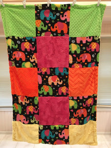 Winter Fleece Elephants Patchwork on Luxe Cuddle Embossed Chevron in Orange