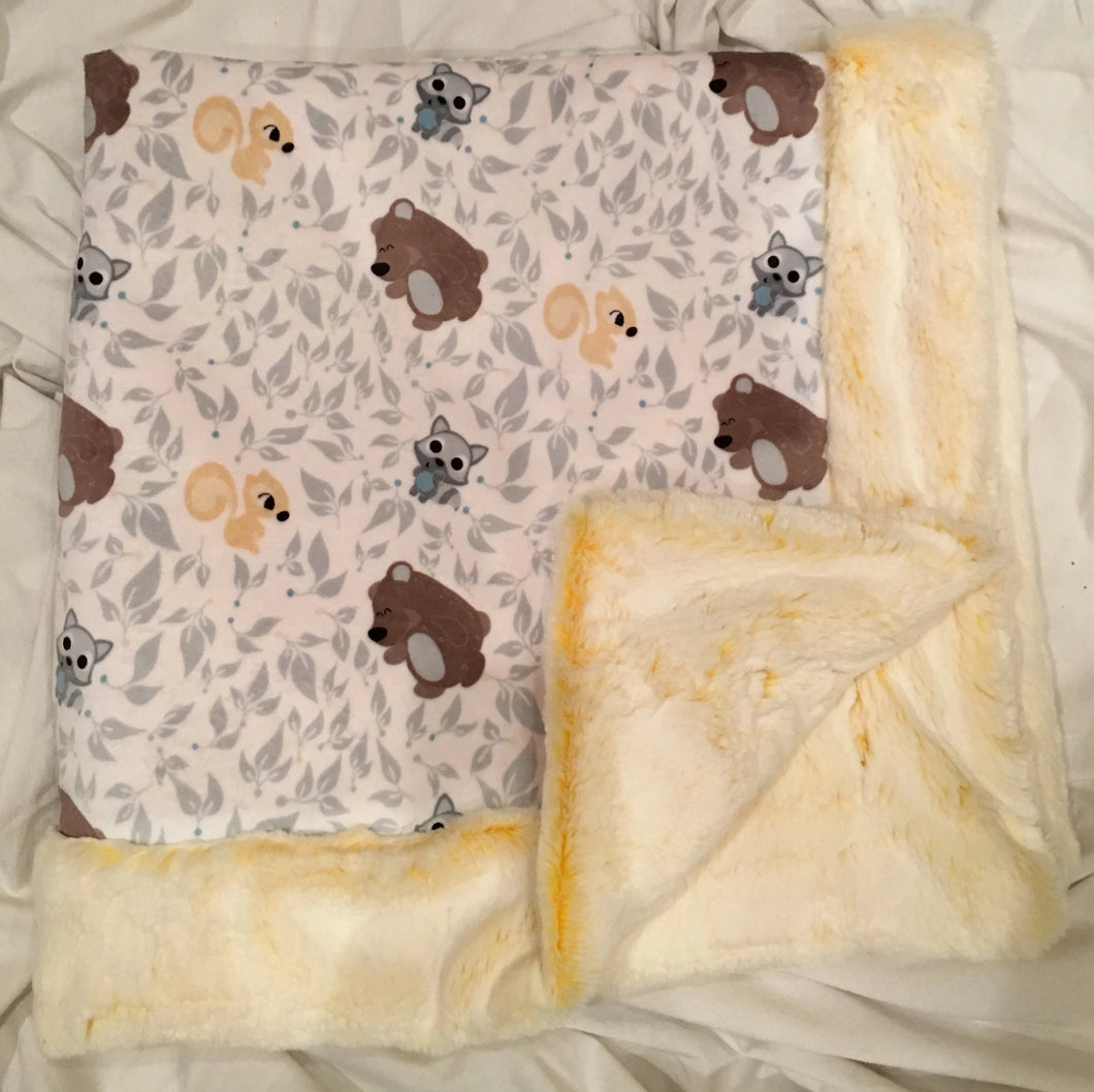 Baby Blanket Bordered in Luxe Cuddle Sunshine Frost on Friendly Forest