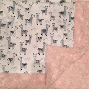 Baby Blanket Bordered in Luxe Cuddle Rosettes in Ice Pink on Alpaclettes in Stone