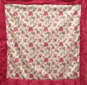 Blanket Bordered and Backed with Luxe Cuddle Carnation Hide on Jungle Dreams in Fuschia