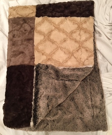 Frosted Gem in Beige, Lattice in Sand, Marble Cocoa and Chocolate Patchwork on Frost Chocolate