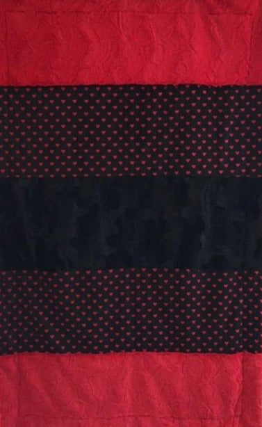Luxe Cuddle Caviar Hide, Heavy Hearts in Black and Stella Red Strip on Stella Red