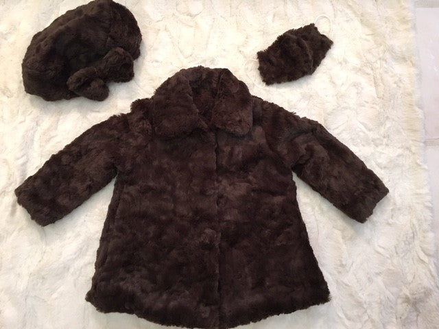 Girl's Minky Marble Chocolate Outerwear Set (Coat, Hat, and Fashion Mask)