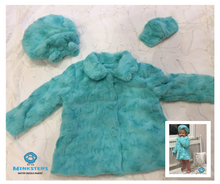 Load image into Gallery viewer, Girl's Minky Luna in Aruba Outerwear Set (Coat, Hat, and Fashion Mask)