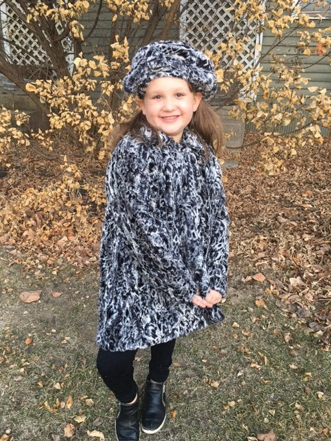 Girls Minky Coat: Spot Leopard Outerwear Set (Includes Coat, Hat, and Fashion Mask)