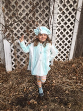 Load image into Gallery viewer, Girls Minky Coat: Saltwater Angora Outerwear Set (Includes Coat, Hat, and Fashion Mask)