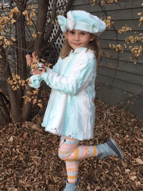 Girls Minky Coat: Saltwater Angora Outerwear Set (Includes Coat, Hat, and Fashion Mask)