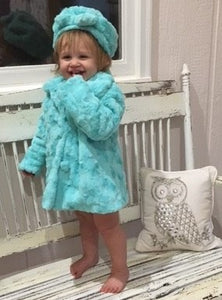 Girl's Minky Luna in Aruba Outerwear Set (Coat, Hat, and Fashion Mask)