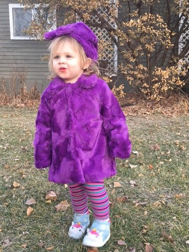 Girl's Minky Hide in Pansy Outerwear Set (Coat, Hat, and Fashion Mask)