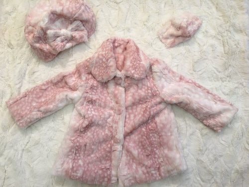 Girl's Minky Fawn in Rosewater Outerwear Set (Coat, Hat, and Fashion Mask)