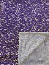 Load image into Gallery viewer, Spoonflower Deep Purple Hearts on Luxe Cuddle Marble Iris