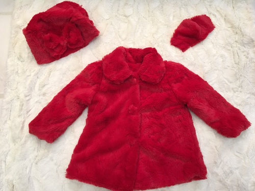 Girl's Minky Stella in Red Outerwear Set (Coat, Hat, and Fashion Mask)