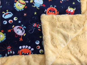 Blanket Bordered and Backed in Banana Hide on You Scared Me in Navy