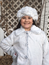 Load image into Gallery viewer, Girl's Minky Frost Black Outerwear Set (Coat, Hat, and Fashion Mask)
