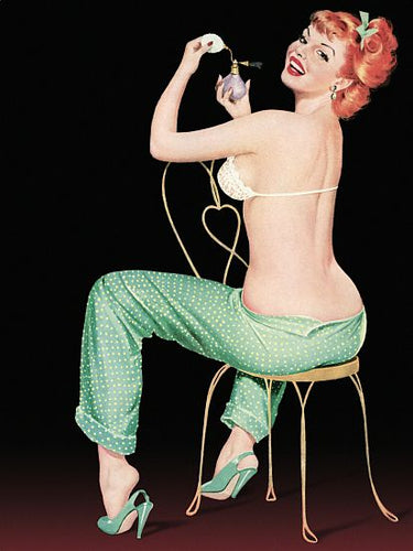 Pinup Poster Redhead With Polka Dot Pajamas - Southern Sudds & Unique Vintiques Online Boutique