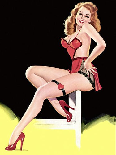 Pinup Poster Redhead With Red Lingerie - Southern Sudds & Unique Vintiques Online Boutique
