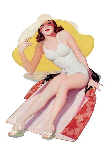 Pinup Poster Redhead With Big Floppy Hat At - Southern Sudds & Unique Vintiques Online Boutique