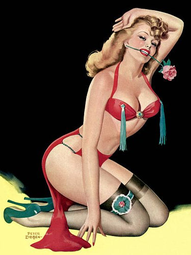 Pinup Poster Sexy Blonde On Knees - Southern Sudds & Unique Vintiques Online Boutique