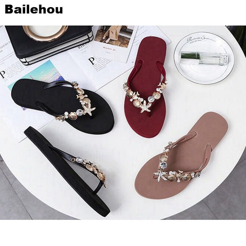 Bailehou Women Beach Slippers Rhinestone Crystal Flip Flops Home Outside Slipper Women Flat Sandals Slip On Slides Non-Slip Shoe