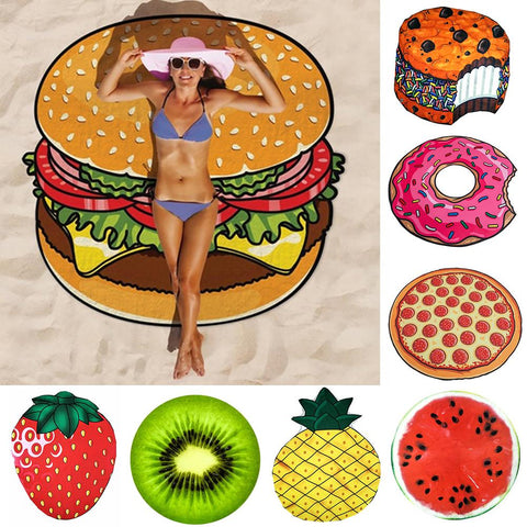 Pineapple Doughnut Pizza Chiffon Beach Towel Tapestry Mat Blanket Decor Beach Textile Decor Drop Shipping