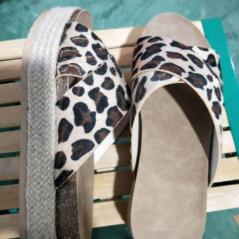 Leopard sandals Summer Women slippers Open toe Platform Casual shoes Ladies Outdoor Beach flip flops Female Slides Girl 334