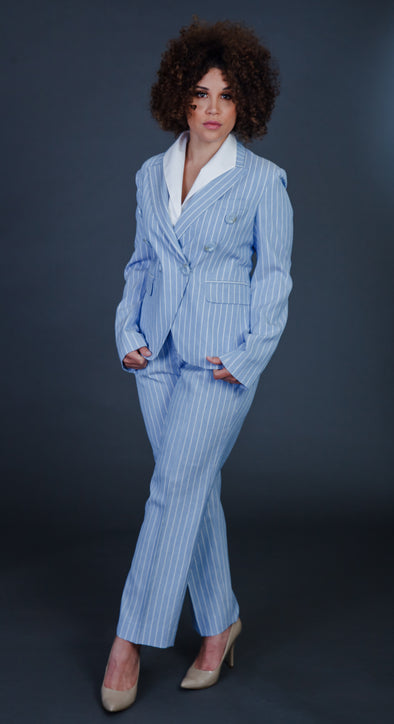 Affluence Light Blue Pants Suit
