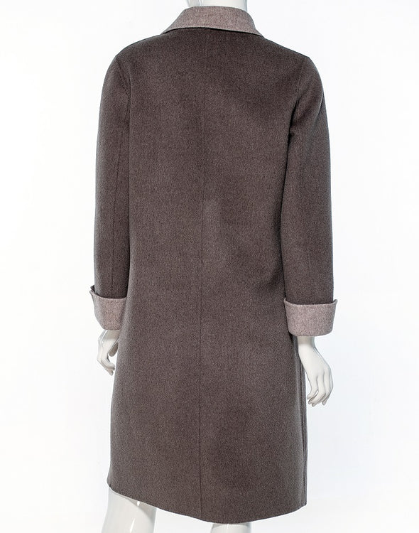 Pearl Two-Tone Cashmere Coat - Bryla J Couture