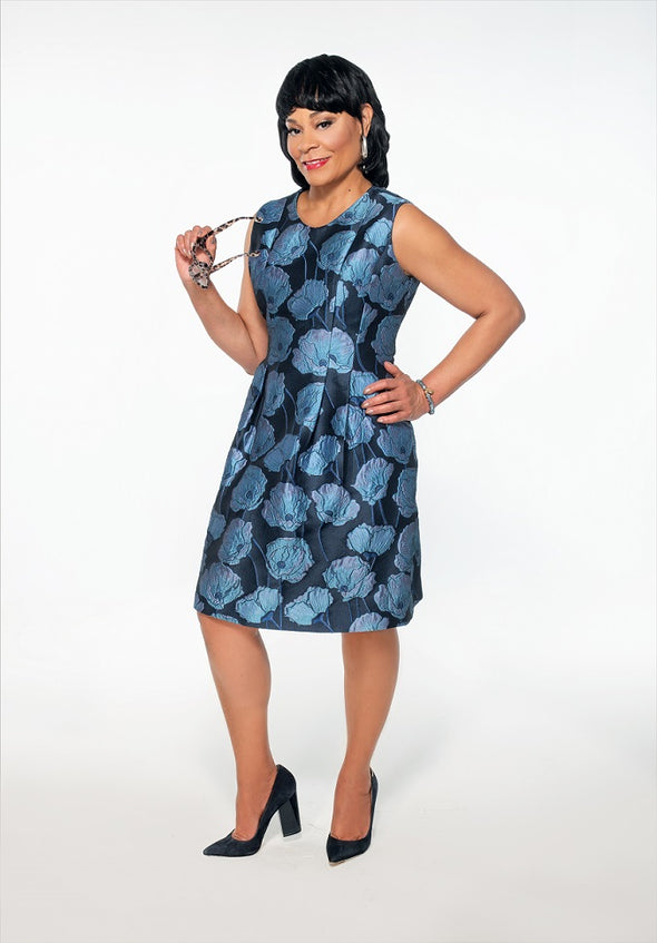 Julie Blue Jacquard Dress - Bryla J Couture