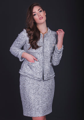 Chambray Grey-Gold Suit - Bryla J Couture