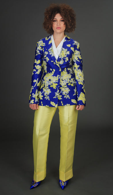 Extravagant Royal Blue/Yellow Pants Suit