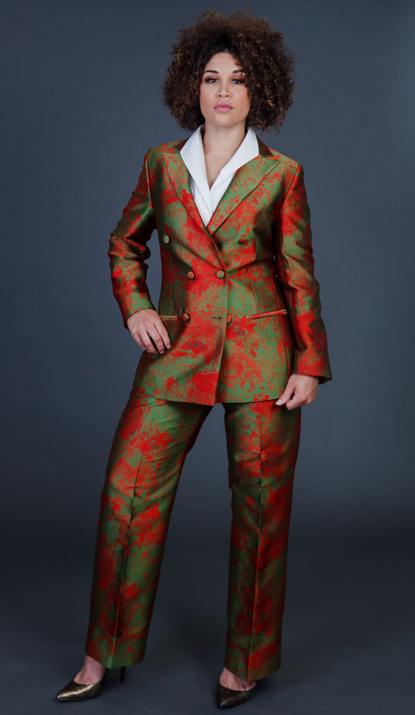 Outspoken Forest Green/Coral Pants Suit