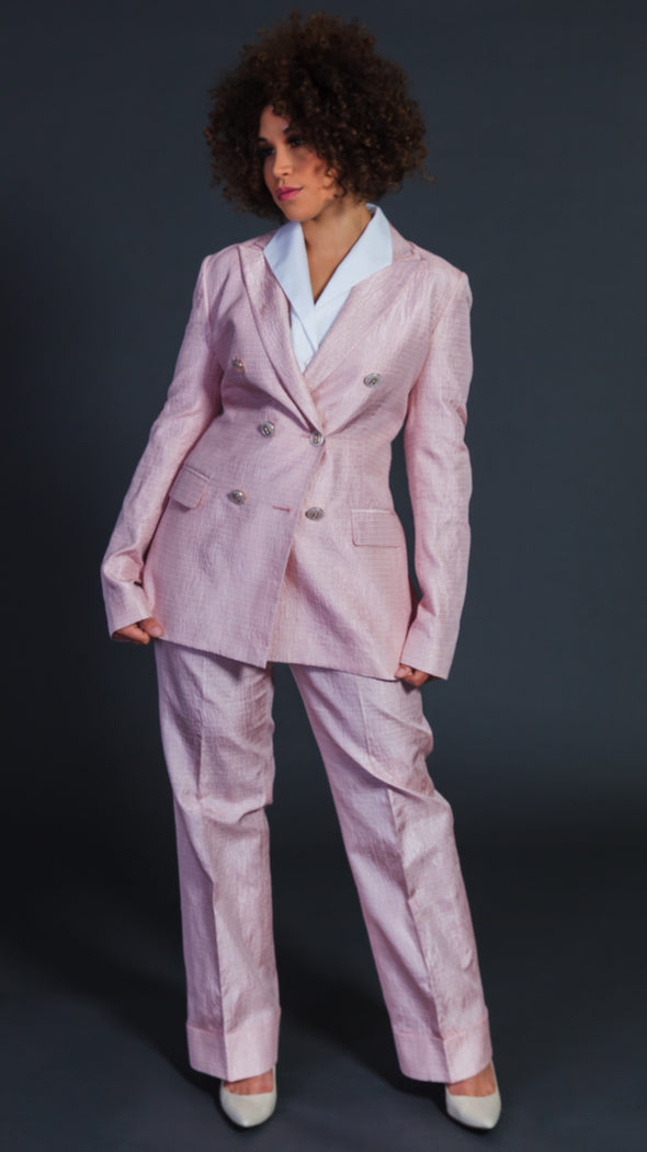 Lady in Pink Pant Suit
