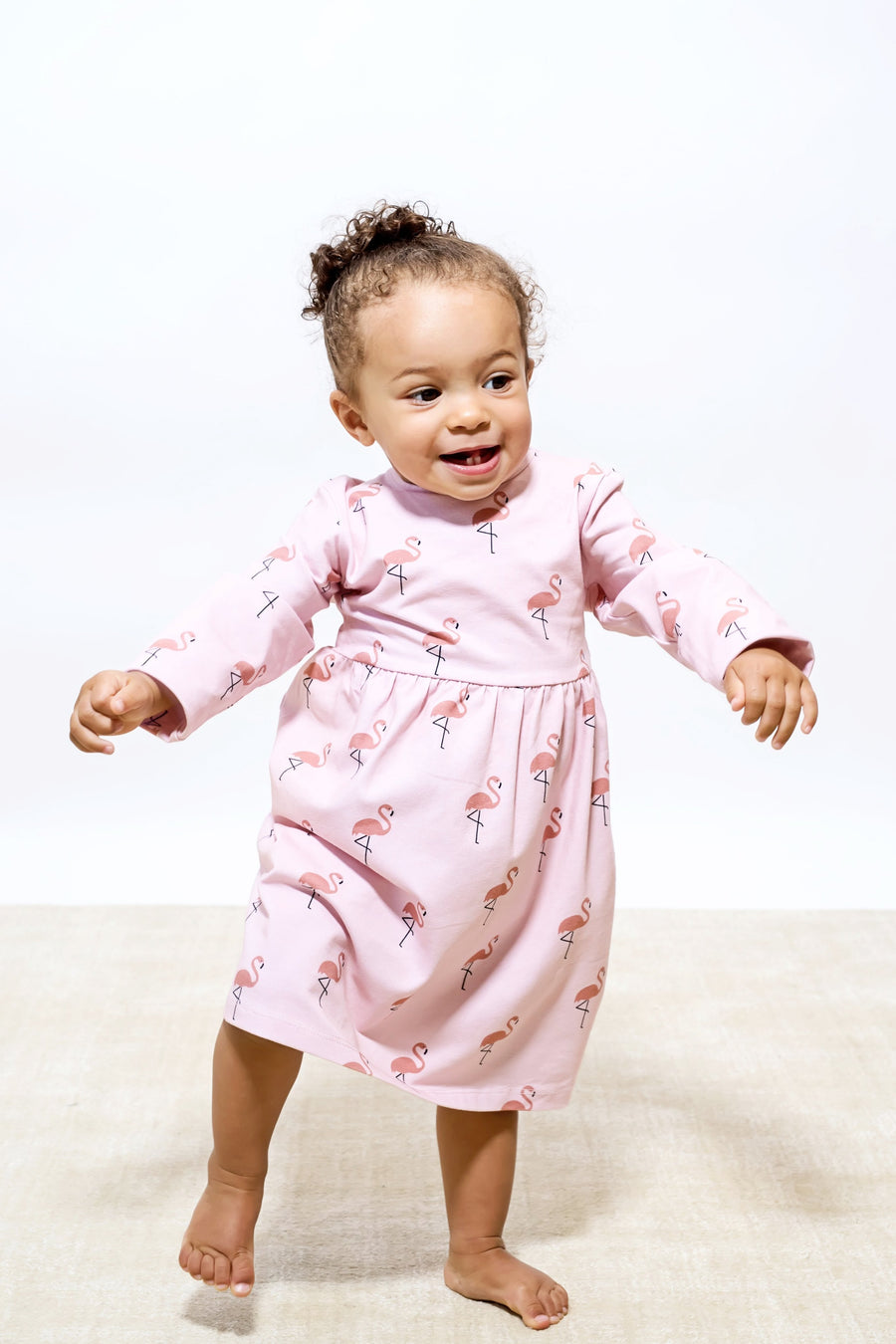 Naomi & Prints 100% Organic cotton baby girl Flamingo Dress