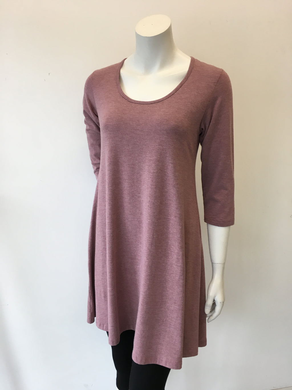 Swing Tunic Dress - 3/4 Sleeve
