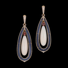 Load image into Gallery viewer, Long coral, grey agate, diamond and pink tourmaline drop earrings and a small pave setting.