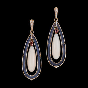 Long coral, grey agate, diamond and pink tourmaline drop earrings and a small pave setting.