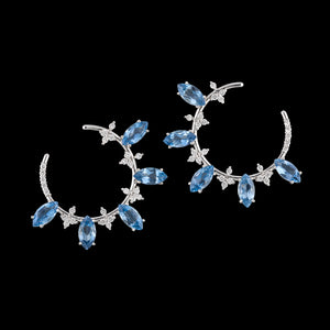 Top quality AquaMarine and White VS round diamonds loop earrings in white 18k gold