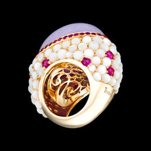 Load image into Gallery viewer, A large center stone, cabochon cut, 18k gold, lavender jade with rubies and mother of pearl.