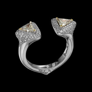 Two side triangle open, white gold, diamond ring with 3D pave setting.