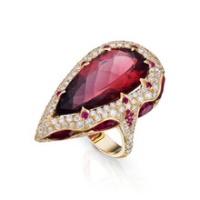 Load image into Gallery viewer, Red tourmaline, rubellite, set in a 3D nest of diamonds and rubies