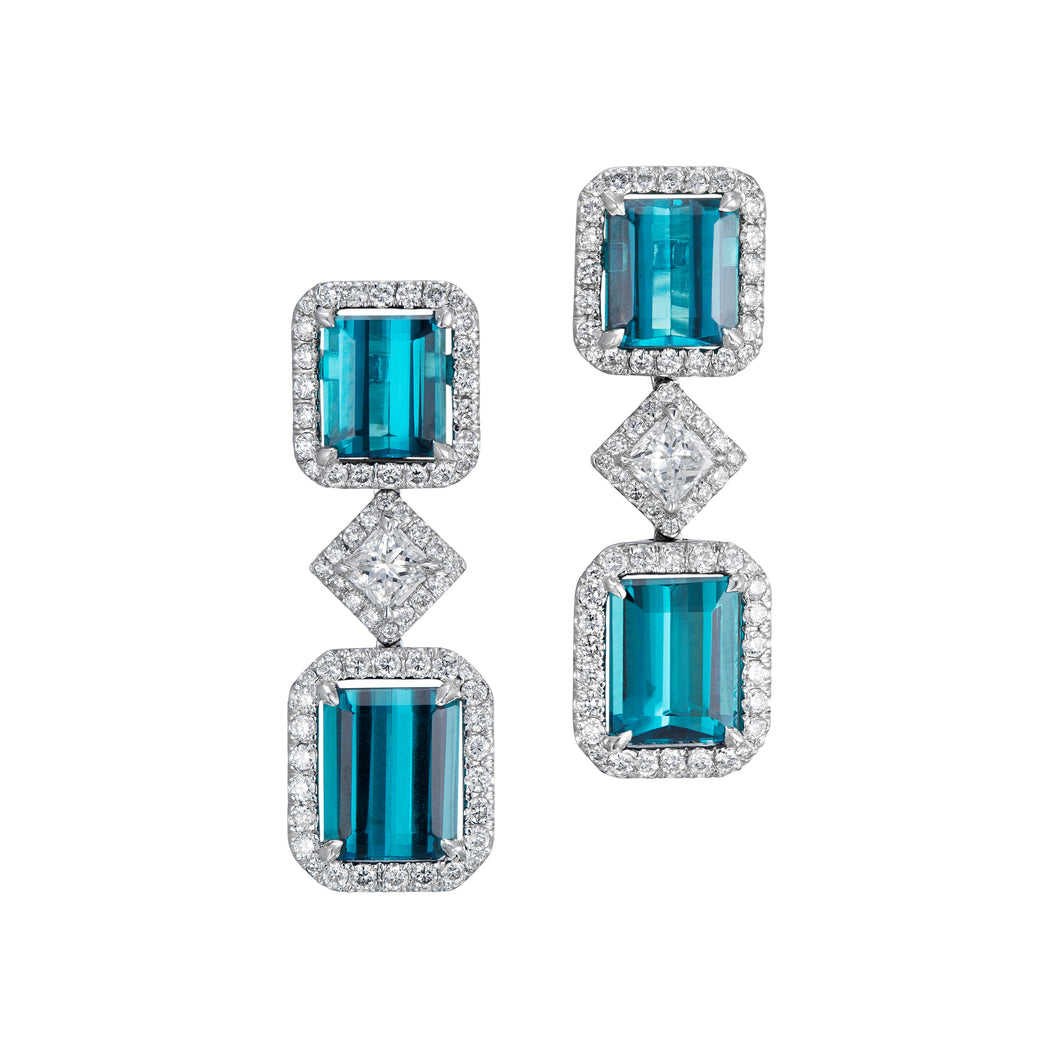 Blue Brazilian tourmaline and diamond light minimalist earrings