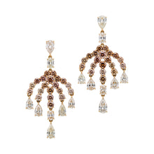 Load image into Gallery viewer, A chandelier fancy brown diamond and white diamond earrings in 18k gold. hanging dress earrings.